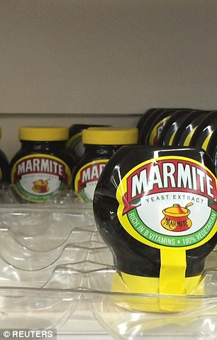 Tesco appeared to emerge victorious from a pricing row with Unilever on popular products like Marmite (left), PG Tips and Pot Noodles, despite some people dashing to the shops (right)