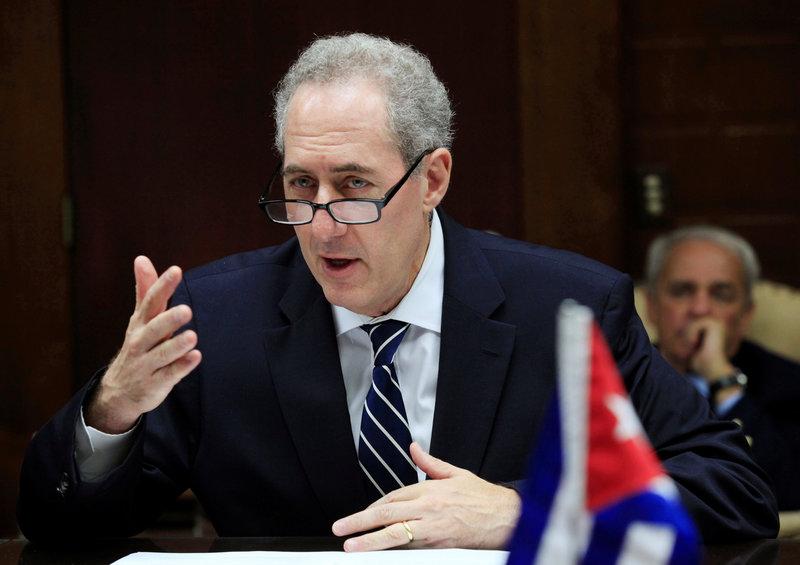 U.S. Trade Representative Michael Froman meets with Cuba's Minister of Foreign Trade Rodrigo Malmierca (Not pictured) in Havana, Cuba