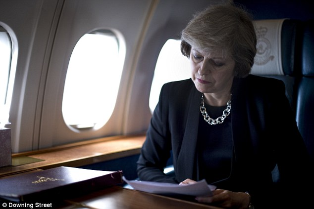 Theresa May, pictured on the way to France for a state visit, has undertaken a major diplomatic blitz since entering Downing Street in July