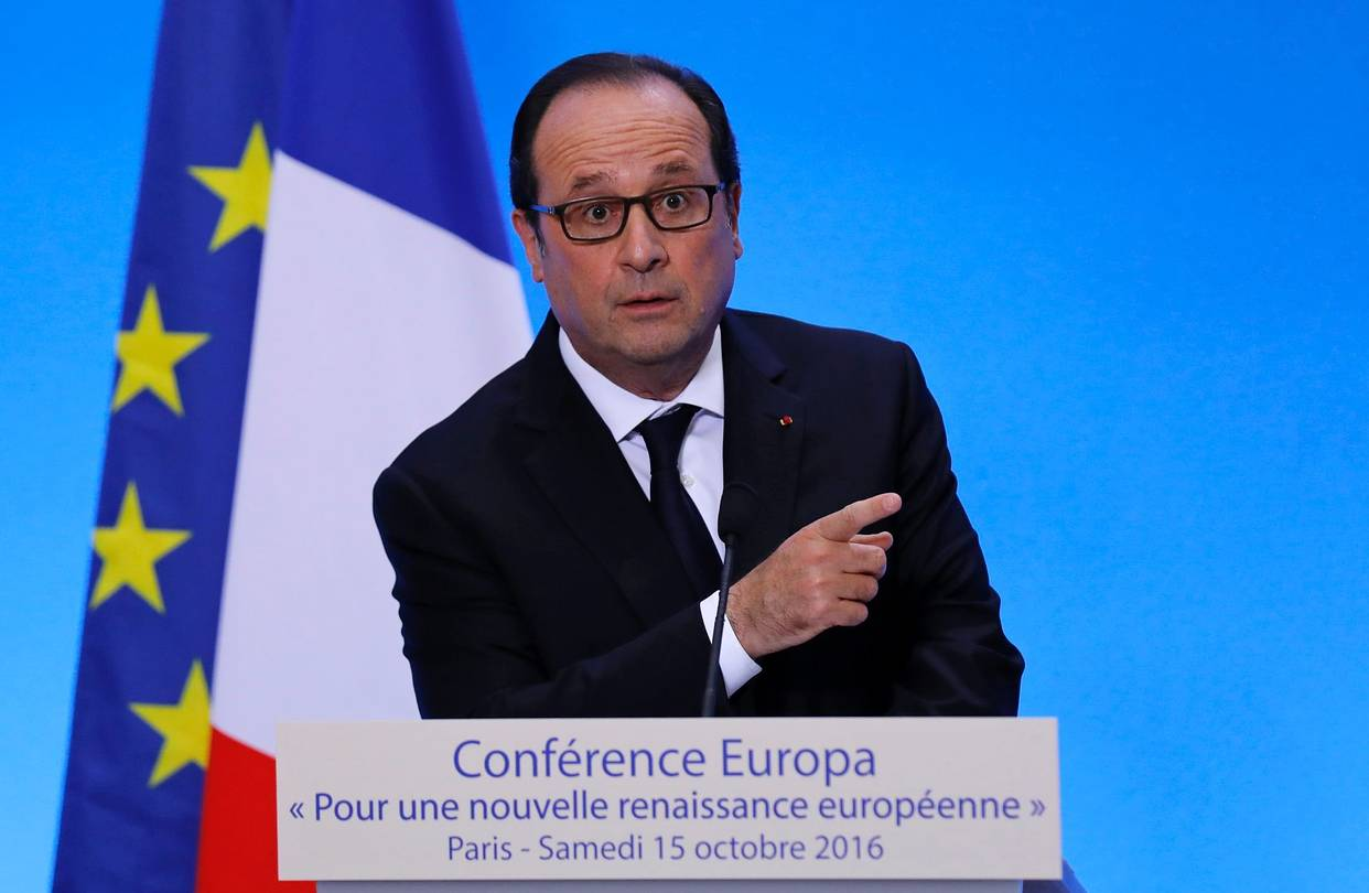 French President François Hollande at a conference on the future of Europe in Paris on Saturday, during which he said the U.K. shouldn't get concessions on the freedom of movement while keeping full access to the single market after its vote to leave the European Union.
