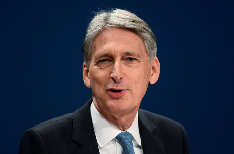 Britain's Chancellor of the Exchequer Philip Hammond speaks at the Conservative Party conference in Birmingham