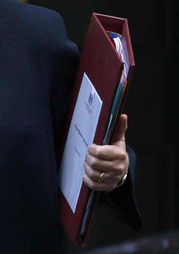 (AP Photo/Alastair Grant). Britain's Prime Minister Theresa May holds onto her notes as she leaves 10 Downing Street for the House of Commons for her weekly Prime Minister's Questions, in London, Wednesday, Oct. 12, 2016.