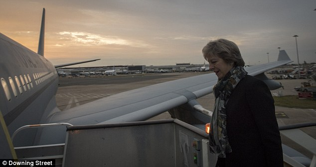 Mrs May, seen boarding a flight to New York last month, is trying to forge closer ties outside the EU as we prepare to leave the bloc