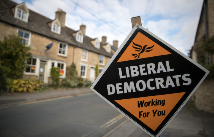 A poster supporting the Liberal Democrats in the constituency of Witney on October 20, 2016 | Matt Cardy/Getty Images
