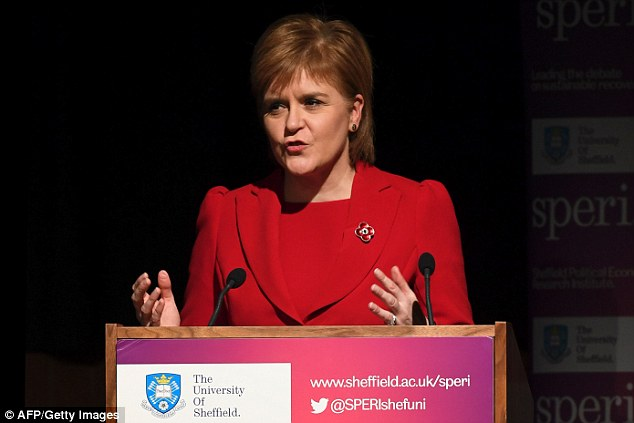 Scottish First Minister Nicola Sturgeon (pictured in Sheffield yesterday) has said she will be applying to join the case against the UK government in the Supreme Court